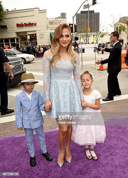 Jennifer Lopez with daughter Emme and son Max attend the premiere of Twentieth Century Fox And Dreamworks Animation's 'HOME' at Regency Village...