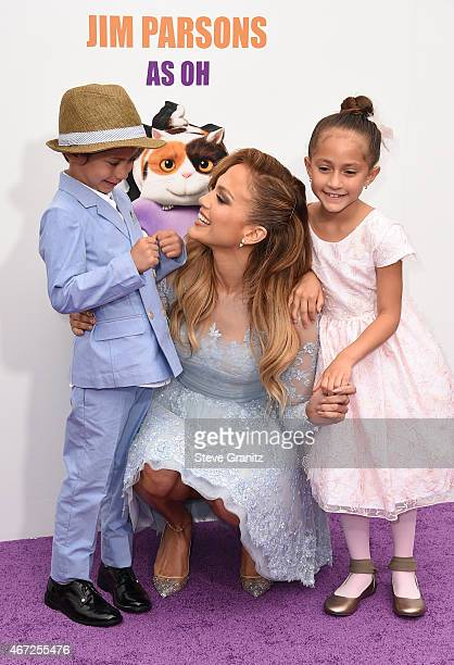 Jennifer Lopez with daughter Emme and son Max attends the premiere of Twentieth Century Fox And Dreamworks Animation's 'HOME' at Regency Village...