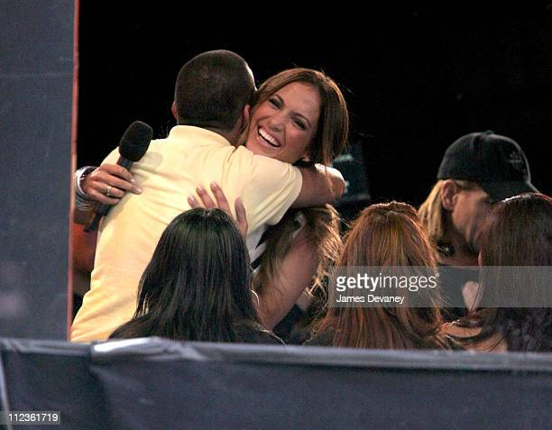 Jennifer Lopez with TRL audience member during Jennifer Lopez and Marc Anthony Outside MTV's 'TRL' Studios March 27 2007 at MTV Studios Times Square...
