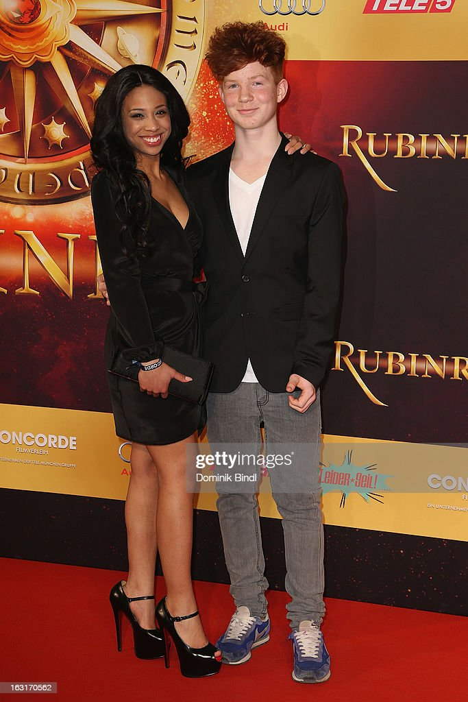 Jennifer Lotsi and Levin Henning attend the 'Rubinrot' premiere on March 5, 2013 in Munich, Germany.