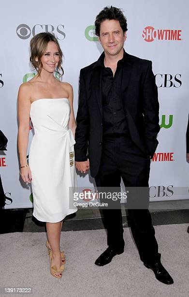 Jennifer Love Hewitt and Jamie Kennedy arrive for the CBS CW CBS Television Studios Showtime TCA Red Carpet Party at the Huntington Library in...