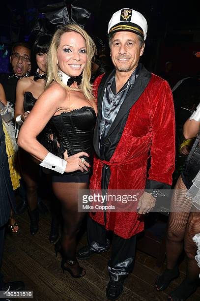 Jennifer Mazur and photographer Kevin Mazur attend Shutterfly Presents Heidi Klum's 14th Annual Halloween Party sponsored by SVEDKA Vodka and...