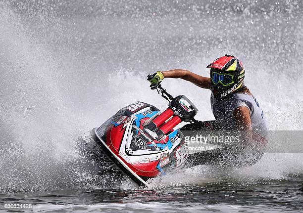 Jennifer Menard of France practice ahead of the Aquabike Class Pro Circuit World Championships Grand Prix of Sharjah at Khalid Lagoon on December 21...