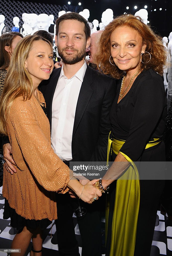 <a gi-track='captionPersonalityLinkClicked' href=/galleries/search?phrase=Jennifer+Meyer&family=editorial&specificpeople=240137 ng-click='$event.stopPropagation()'>Jennifer Meyer</a>, actor <a gi-track='captionPersonalityLinkClicked' href=/galleries/search?phrase=Tobey+Maguire&family=editorial&specificpeople=203015 ng-click='$event.stopPropagation()'>Tobey Maguire</a>, and Diane Von Furstenberg attends Diane Von Furstenberg's Journey of A Dress Exhibition Opening Celebration at May Company Building at LACMA West on January 10, 2014 in Los Angeles, California.