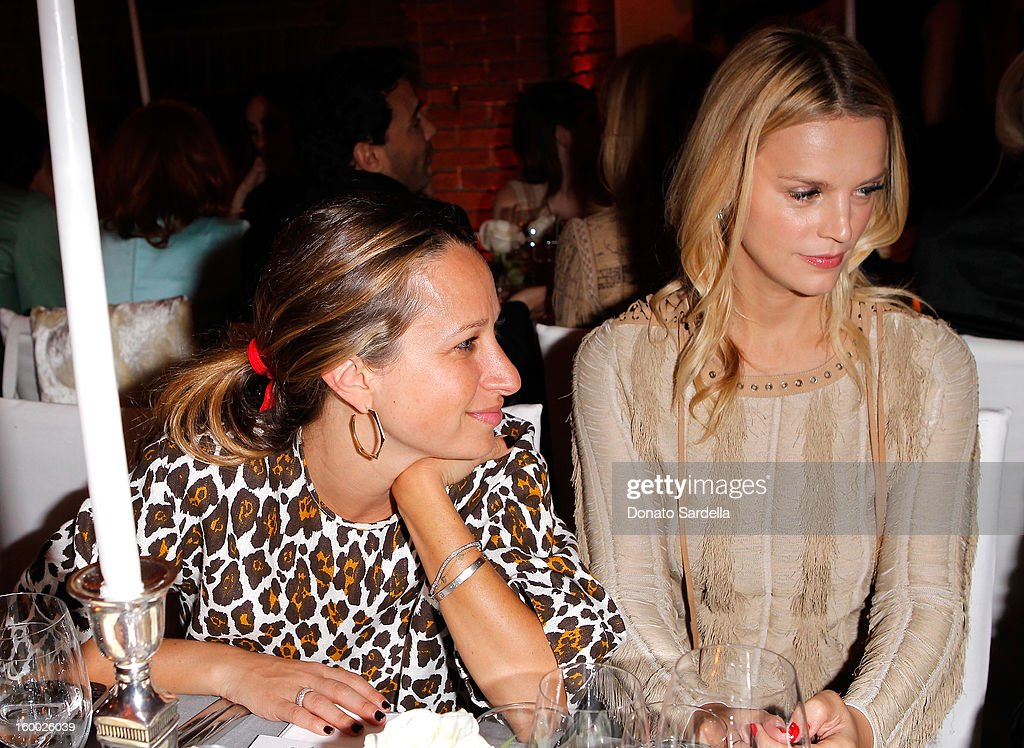 Jennifer Meyer (L) and Kelly Sawyer Patricof attend the Ferragamo presentation Spring Summer Runway Collection with VIP dinner, hosted by Jacqui Getty and Harpers BAZAAR at Chateau Marmont on January 24, 2013 in Los Angeles, California.