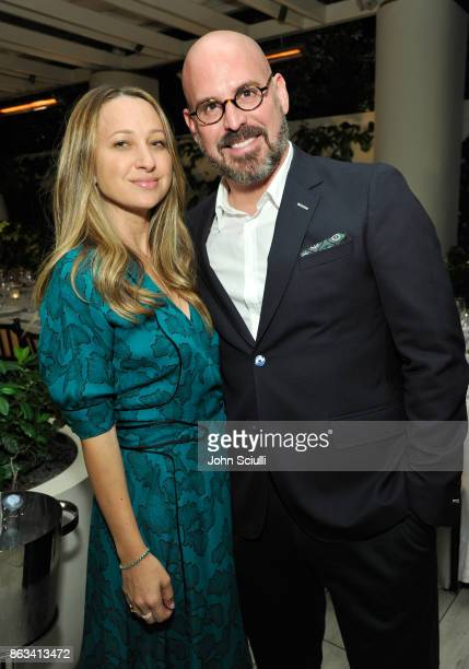 Jennifer Meyer and THE OUTNET's Andres Sosa attend THE OUTNET x Amber Valletta at Waldorf Astoria Beverly Hills on October 19 2017 in Beverly Hills...
