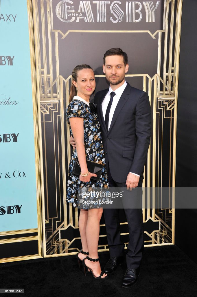 <a gi-track='captionPersonalityLinkClicked' href=/galleries/search?phrase=Jennifer+Meyer&family=editorial&specificpeople=240137 ng-click='$event.stopPropagation()'>Jennifer Meyer</a> Maguire and actor <a gi-track='captionPersonalityLinkClicked' href=/galleries/search?phrase=Tobey+Maguire&family=editorial&specificpeople=203015 ng-click='$event.stopPropagation()'>Tobey Maguire</a> attend the 'The Great Gatsby' world premiere at Avery Fisher Hall at Lincoln Center for the Performing Arts on May 1, 2013 in New York City.