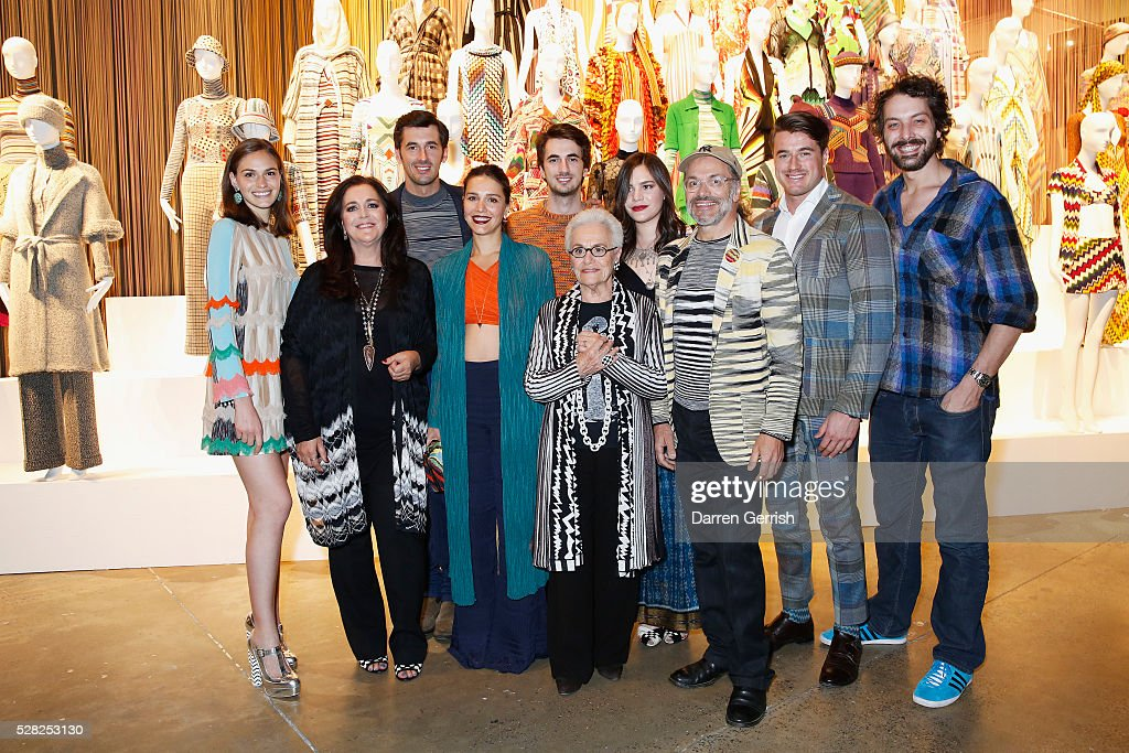 Jennifer Missoni, Angela Missoni, Ottavio Missoni, Margherita Maccapani Missoni, Marco Missoni, Rosita Missoni, Teresa Maccapani Missoni, Luca Missoni, Giacommo Missoni and Francesco Maccapani Missoni attend the Missoni Art Colour preview in partnership with Woolmark at The Fashion and Textile Museum on May 4, 2016 in London, England.