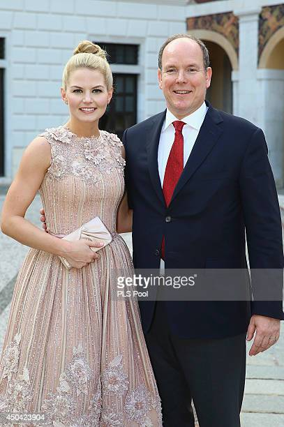Jennifer Morrison and Prince Albert II of Monaco attend a cocktail reception at Monaco Palace on June 9 2014 in MonteCarlo Monaco