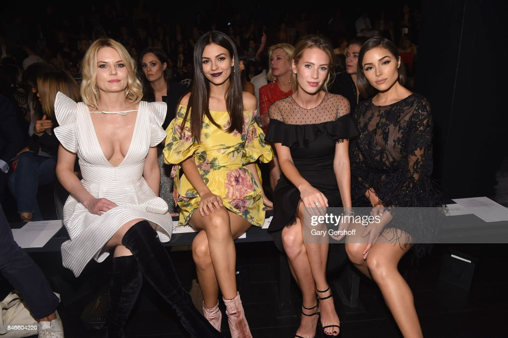 Jennifer Morrison, Victoria Justice, Dylan Penn and Olivia Culpo attend the Marchesa fashion show during New York Fashion Week at Gallery 1, Skylight Clarkson Sq on September 13, 2017 in New York City.