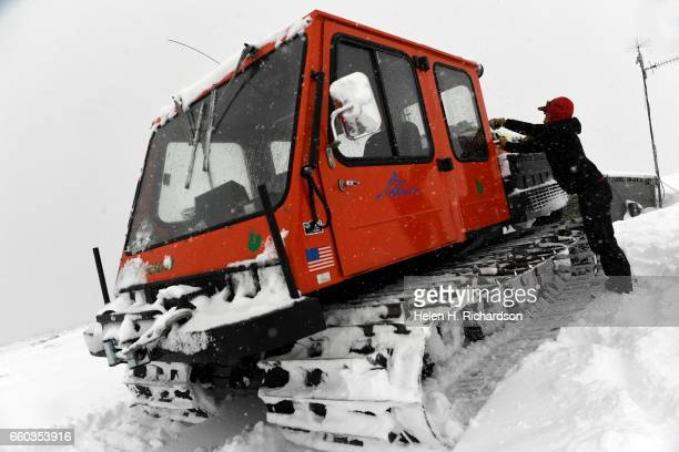 Jennifer Morse a climate technician at the Mountain Research Station in Roosevelt National Forest unloads her snowcat after arriving at the Niwot...