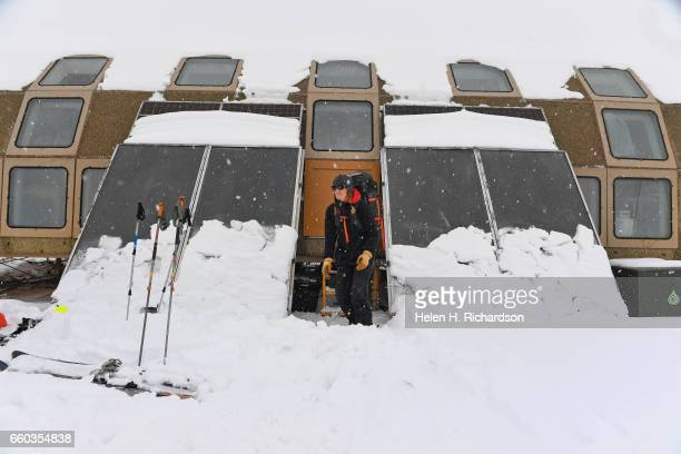 Jennifer Morse a climate technician at the Mountain Research Station in Roosevelt National Forest gets ready to return to her base after checking...
