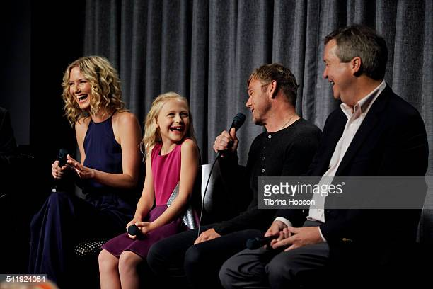 Jennifer Nettles Alyvia Alyn Lind Ricky Schroder and Sam Haskell attend the SAGAFTRA Foundation Conversations with 'Dolly Parton's Coat Of Many...