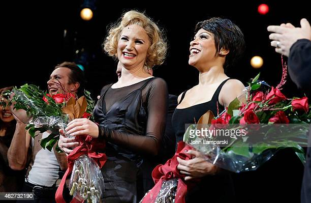 Jennifer Nettles and Carly Hughes join Broadway's 'Chicago' Curtain Call at Ambassador Theatre on February 3 2015 in New York City