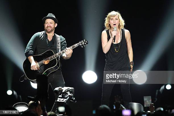 Jennifer Nettles and Kristian Bush of Sugarland perform at Conseco Fieldhouse on October 28 2011 in Indianapolis Indiana