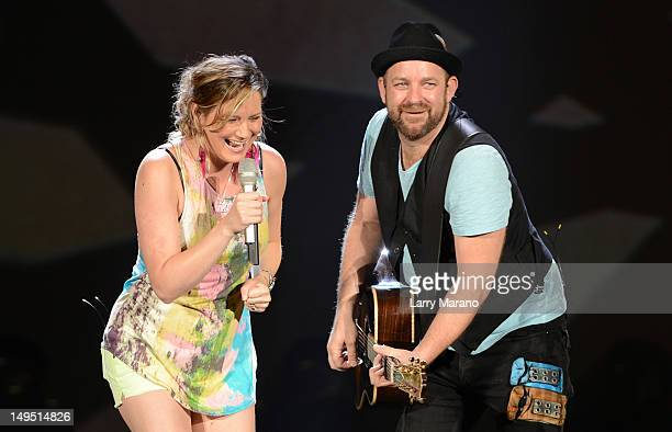 Jennifer Nettles and Kristian Bush of Sugarland perform at Cruzan Amphitheatre on July 29 2012 in West Palm Beach Florida