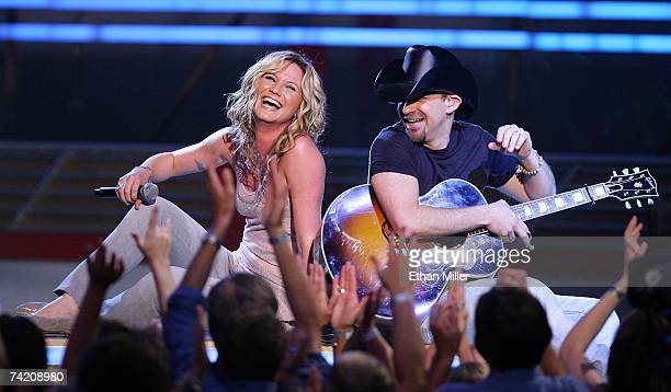 Jennifer Nettles and Kristian Bush of Sugarland perform during the 42nd Annual Academy Of Country Music Awards at the MGM Grand Garden Arena May 15...