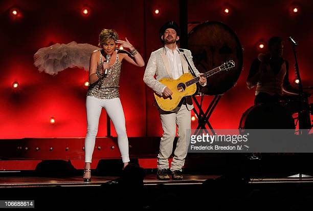 Jennifer Nettles and Kristian Bush of Sugarland perform onstage at the 44th Annual CMA Awards at the Bridgestone Arena on November 10 2010 in...