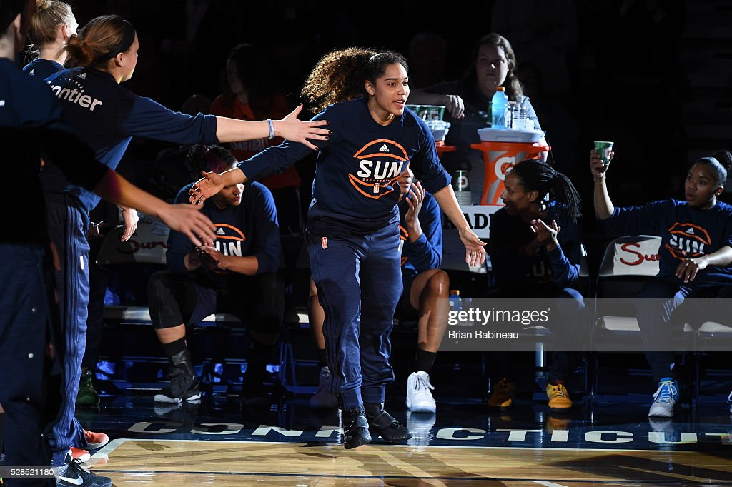 Jennifer O'Neill #0 of the Connecticut Sun is introduced before the game against the San Antonio Stars in a WNBA preseason game on May 5, 2016 at the Mohegan Sun Arena in Uncasville, Connecticut.