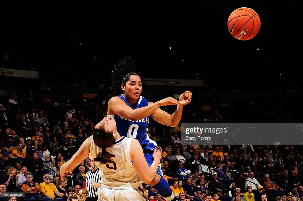Jennifer O'Neill of the Kentucky Wildcats fouls Jeanne Kenney of the LSU Tigers during a game at the Pete Maravich Assembly Center on February 24...