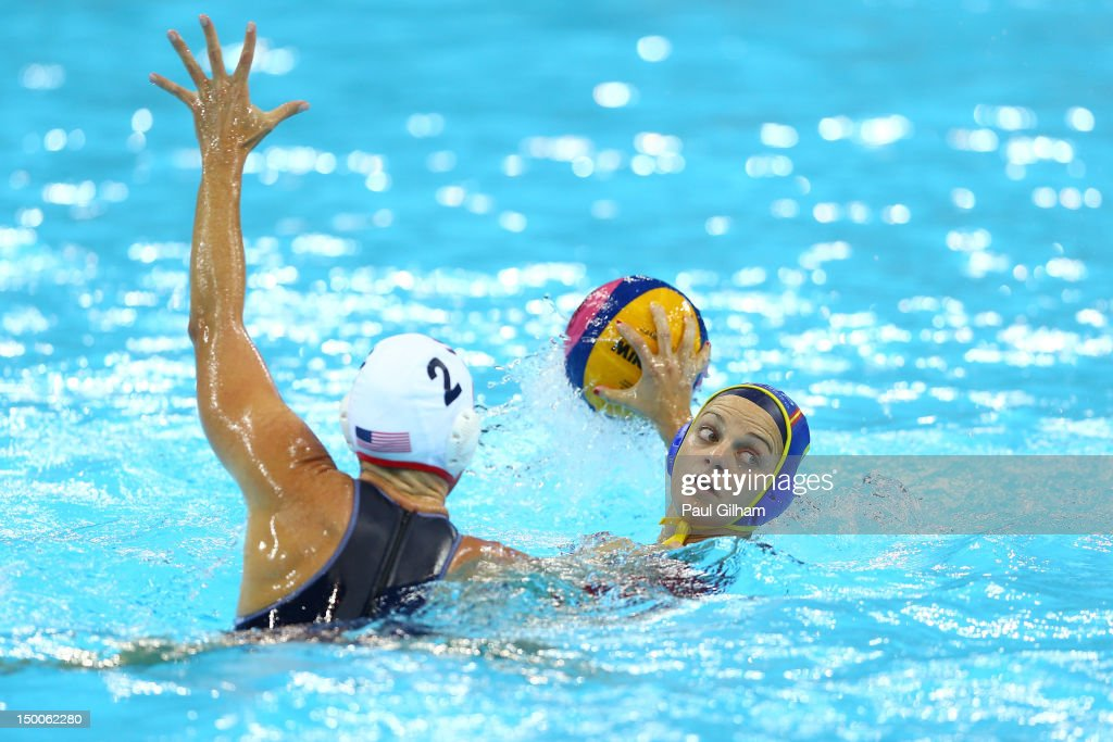 Jennifer Pareja Lisalde of Spain passes the ball in the Women's Water Polo Gold Medal match between the United States and Spain on Day 13 of the...