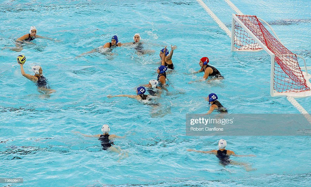 Jennifer Pareja Lisalde of Spain prepares to shoot during the Women's Final Round Water Polo match between Spain and Brazil at the Melbourne Sports...