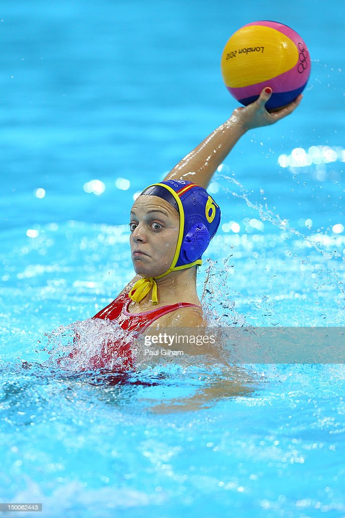 Jennifer Pareja Lisalde of Spain scores a goal in the Women's Water Polo Gold Medal match between the United States and Spain on Day 13 of the London...