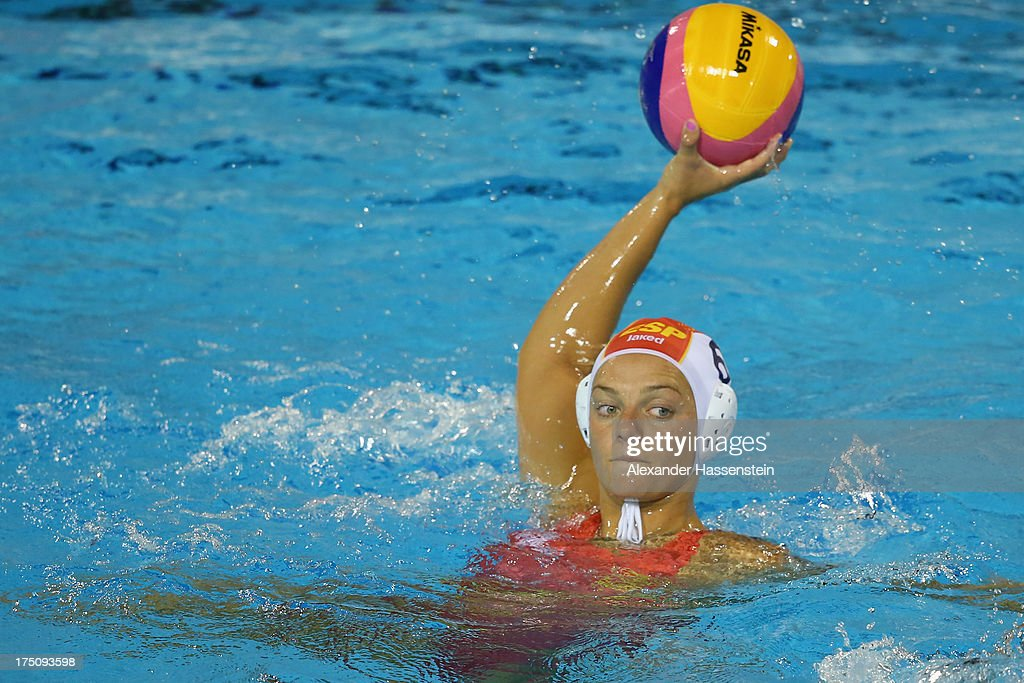 Jennifer Pareja of Spain in action during the Women's Water Polo Semifinal Round between Spain and Hungary during day twelve of the 15th FINA World...