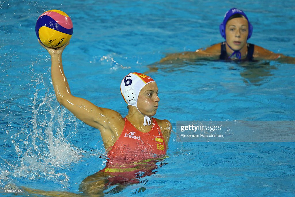 Jennifer Pareja of Spain in action with Ibolya Kitti Miskolczi of Hungary during the Women's Water Polo Semifinal Round between Spain and Hungary...