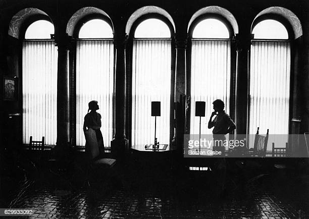 Jennifer Peck of Newton Mass and Ken Goldstein of Baltimore MD admire the art work at the Isabella Stewart Gardner Museum in Boston on Aug 7 1980