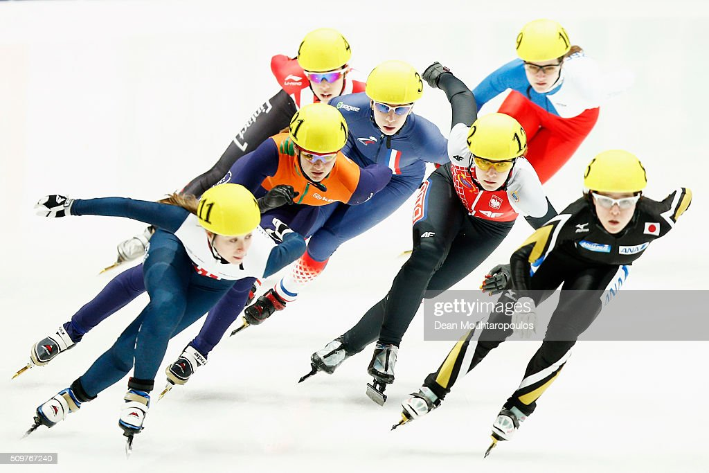 Jennifer Pickering of Great Britain, #83 Sumire Kikuchi of Japan and #122 Monika Grzadkowska of Poland competes in the womens 1500m Heat during ISU Short Track Speed Skating World Cup held at The Sportboulevard on February 12, 2016 in Dordrecht, Netherlands.