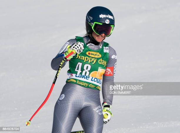 Jennifer Piot of France reacts to her finish time during the FIS Ski World Cup Women's Super G on December 3 2017 in Lake Louise Canada / AFP PHOTO /...