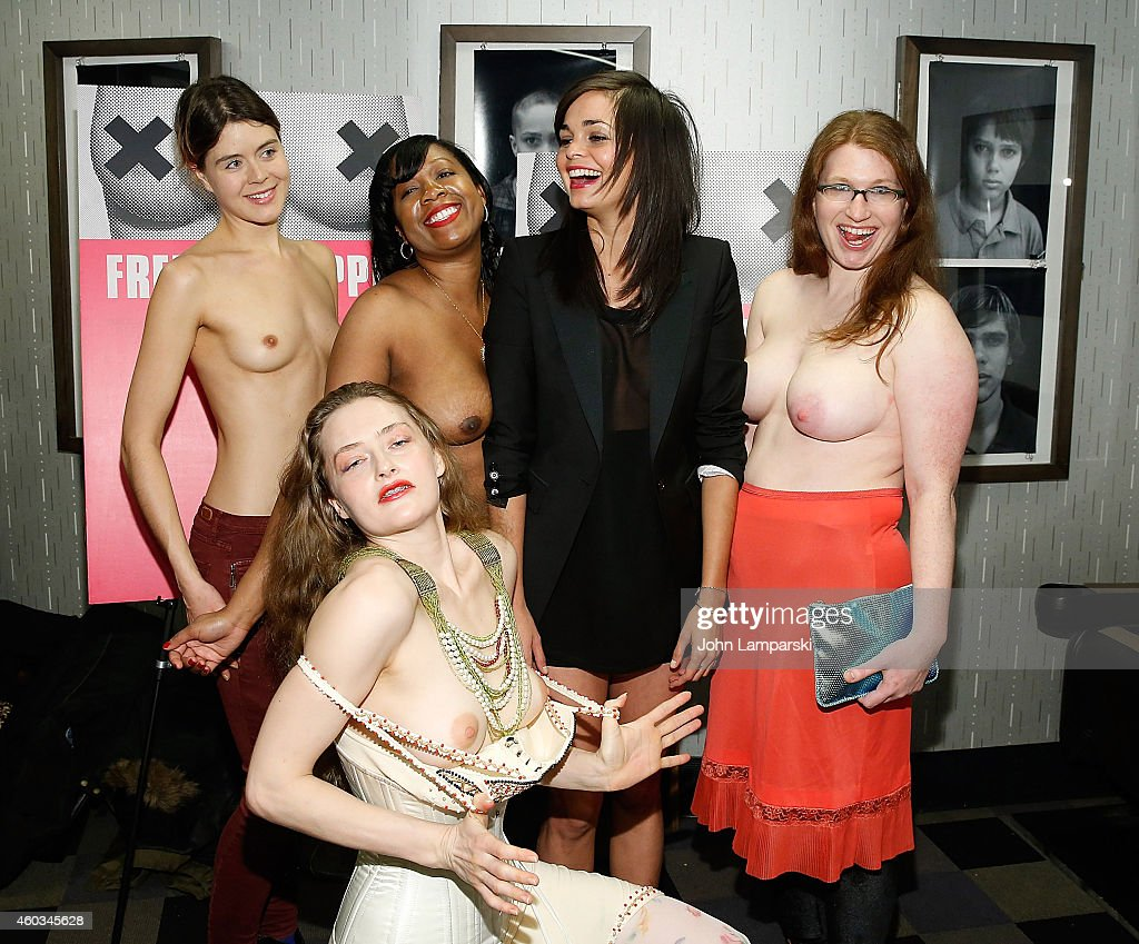 Jennifer Prince, Victoria Bolton, Director Lina Esco, Emily Newhouse and (front) Sarah Beth Stroller attend 'Free The Nipple' New York Premiere at IFC Center on December 11, 2014 in New York City.
