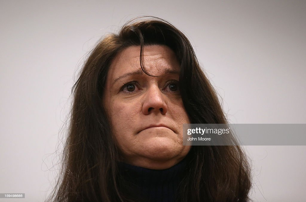 Jennifer Richman, mother of Avielle Richman, (6), who was killed in the Sandy Hook massacre, attends a press conference on January 14, 2013 in Newtown, Connecticut. Eleven families of Sandy Hook massacre victims came to the event one month after the shooting to give their support to Sandy Hook Promise, a new non-profit with the goal of preventing such tragedies in the future.