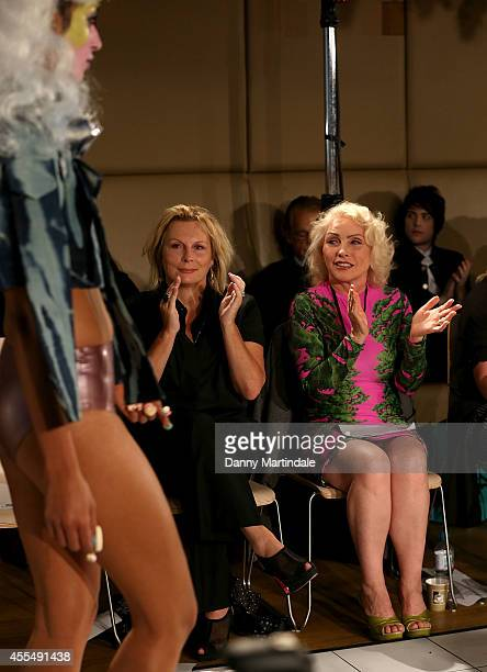 Jennifer Saunders and Debbie Harry watch the VIN and OMI show during London Fashion Week Spring Summer 2015 on September 15 2014 in London England