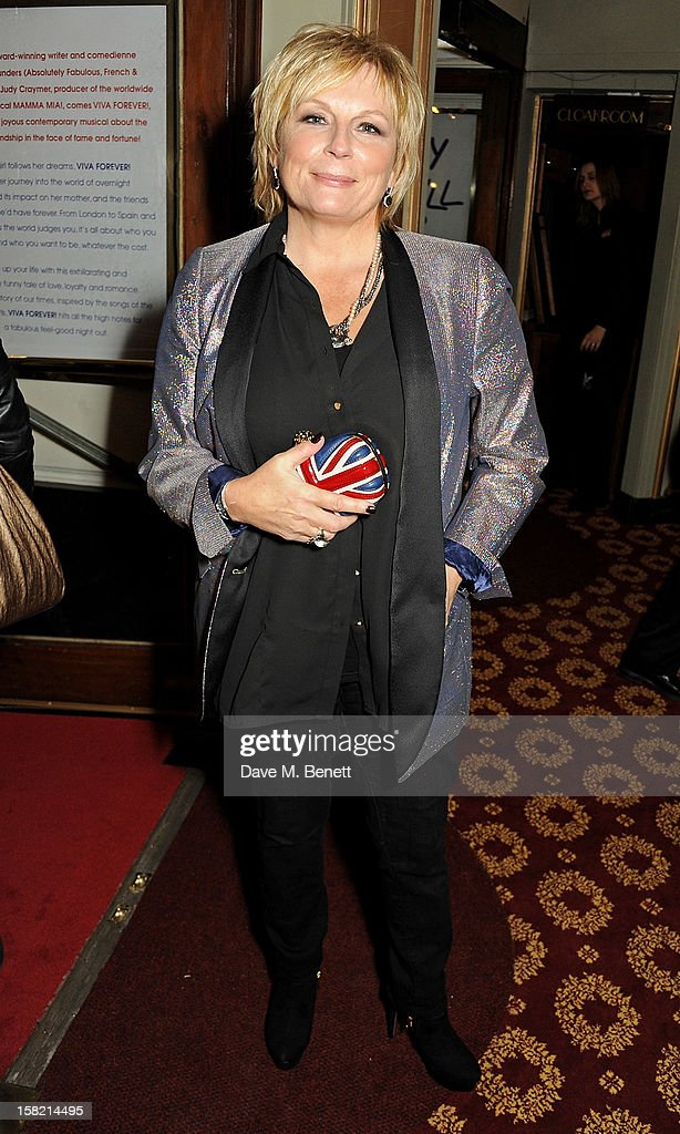 Jennifer Saunders arrives at the Gala Press Night performance of 'Viva Forever' at the Piccadilly Theatre on December 11, 2012 in London, England.