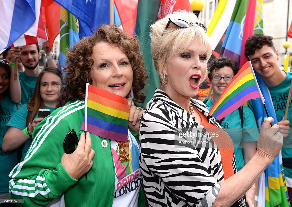 Jennifer Saunders as Eddie and Joanna Lumley as Patsy, the stars of 'Absolutely Fabulous: The Movie' attend Pride on June 25, 2016 in London, England.
