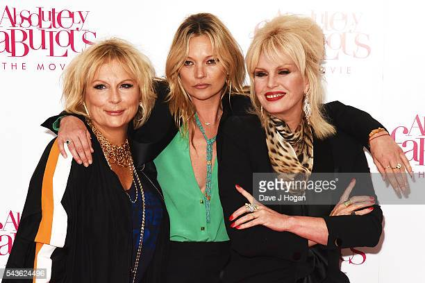 Jennifer Saunders Kate Moss and Joanna Lumley attend the World Premiere of 'Absolutely Fabulous The Movie' at Odeon Leicester Square on June 29 2016...