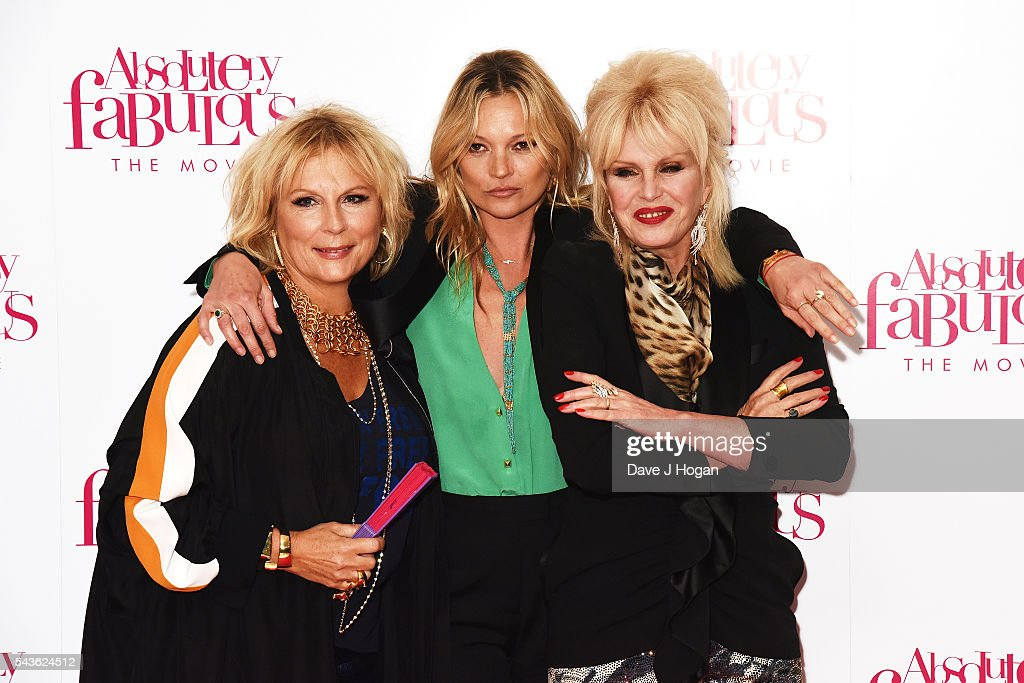 Jennifer Saunders, Kate Moss and Joanna Lumley attend the World Premiere of 'Absolutely Fabulous: The Movie' at Odeon Leicester Square on June 29, 2016 in London, England.