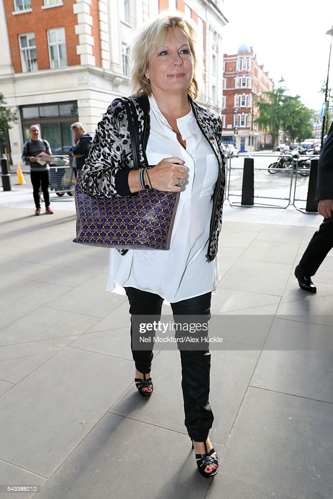<a gi-track='captionPersonalityLinkClicked' href=/galleries/search?phrase=Jennifer+Saunders&family=editorial&specificpeople=210714 ng-click='$event.stopPropagation()'>Jennifer Saunders</a> seen arriving at the BBC Radio 1 Studios on June 28, 2016 in London, England.