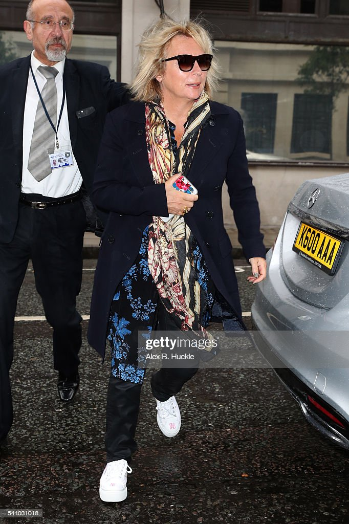 <a gi-track='captionPersonalityLinkClicked' href=/galleries/search?phrase=Jennifer+Saunders&family=editorial&specificpeople=210714 ng-click='$event.stopPropagation()'>Jennifer Saunders</a> seen arriving at the BBC Radio 2 Studios on July 1, 2016 in London, England.
