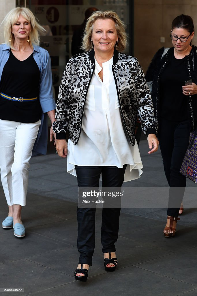 <a gi-track='captionPersonalityLinkClicked' href=/galleries/search?phrase=Jennifer+Saunders&family=editorial&specificpeople=210714 ng-click='$event.stopPropagation()'>Jennifer Saunders</a> seen leaving the BBC Radio 1 Studios on June 28, 2016 in London, England.