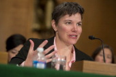 Jennifer Shasky Calvery director of financial crimes enforcement network with the US Treasury speaks during a Senate Banking Subcommittee hearing on...