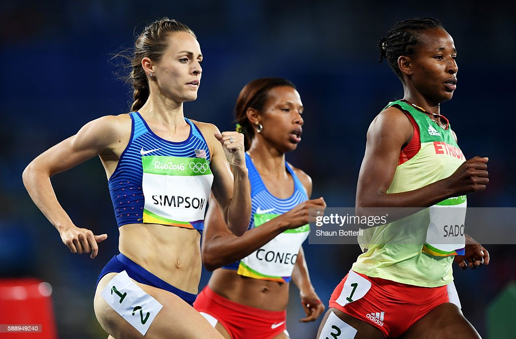 Jennifer Simpson of the United States and Besu Sado of Ethiopia compete in round one of the Women's 1500 metres on Day 7 of the Rio 2016 Olympic...