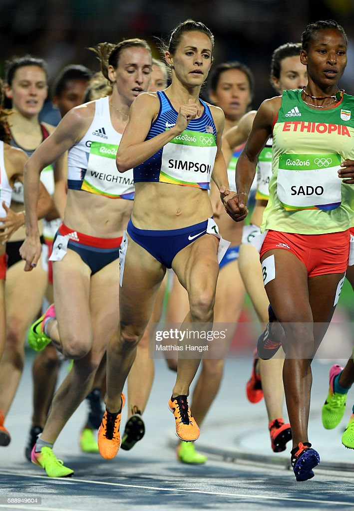 Jennifer Simpson of the United States Besu Sado of Ethiopia compete in the Women's 1500m Round 2 Heat 1 on Day 7 of the Rio 2016 Olympic Games at the...