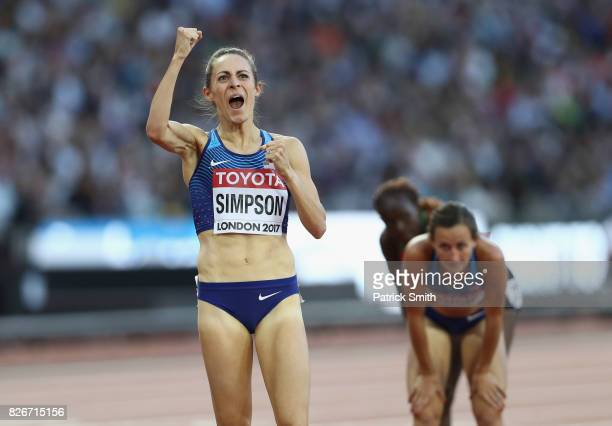 Jennifer Simpson of the United States celebrates following the semi final of the Women's 1500 metres during day two of the 16th IAAF World Athletics...