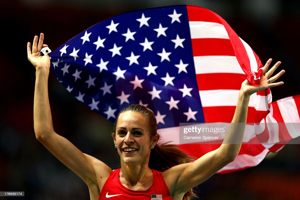 Jennifer Simpson of the United States celebrates winning silver in the Women's 1500 metres final during Day Six of the 14th IAAF World Athletics Championships Moscow 2013 at Luzhniki Stadium on August 15, 2013 in Moscow, Russia.