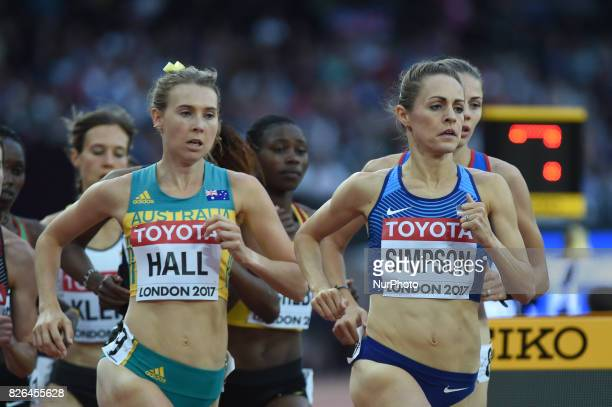 Jennifer SIMPSON Usa and Linden HALL Australia during 1500 meter preliminary round at London Stadium in London on August 4 2017 at the 2017 IAAF...