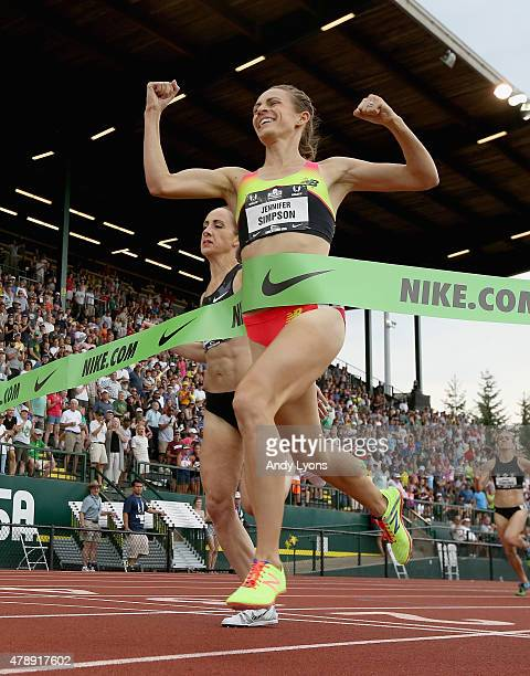 Jennifer Simpson wins the Womens 1500 Meter during day four of the 2015 USA Outdoor Track Field Championships at Hayward Field on June 28 2015 in...