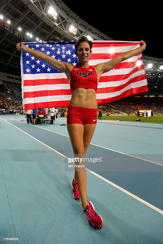 Jennifer Suhr of the United States celebrates winning silver in the Women's pole vault final during Day Four of the 14th IAAF World Athletics Championships Moscow 2013 at Luzhniki Stadium on August 13, 2013 in Moscow, Russia.
